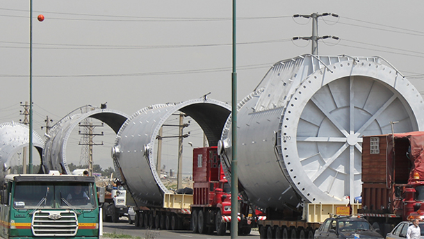 Transportation of 90 m Stack parts to its site location